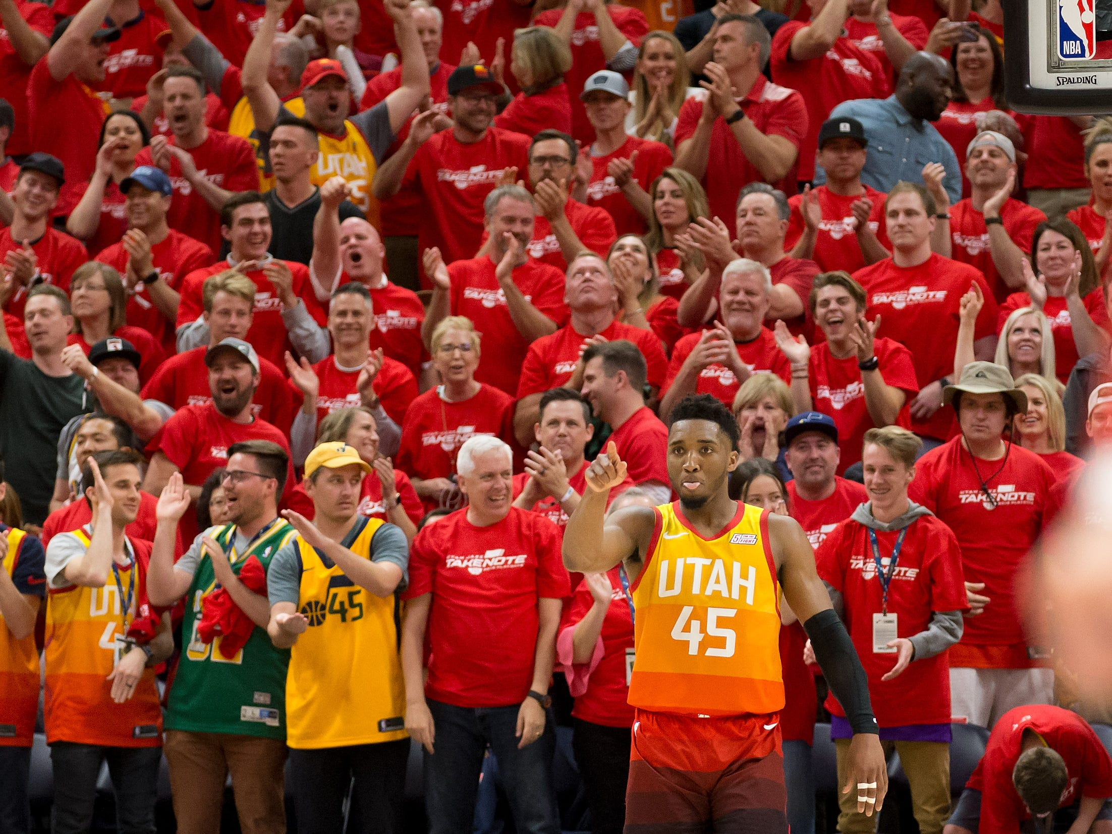 April 20: The Utah crowd gets behind Donovan Mitchell during Game 3 against the Rockets.