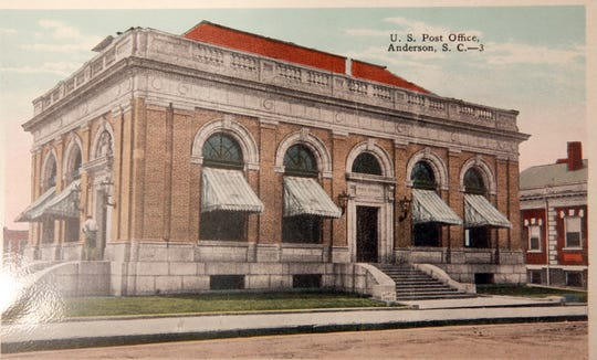 """Postcard - """"U.S. Post Office, Anderson, S.C.-3""""   Fred Whitten of Anderson collected about 1,000 postcards, scenes of Anderson area, since the 1960s.  He also helped start the Anderson County Museum. Whitten died July 16, 2013 at the age of 94."""