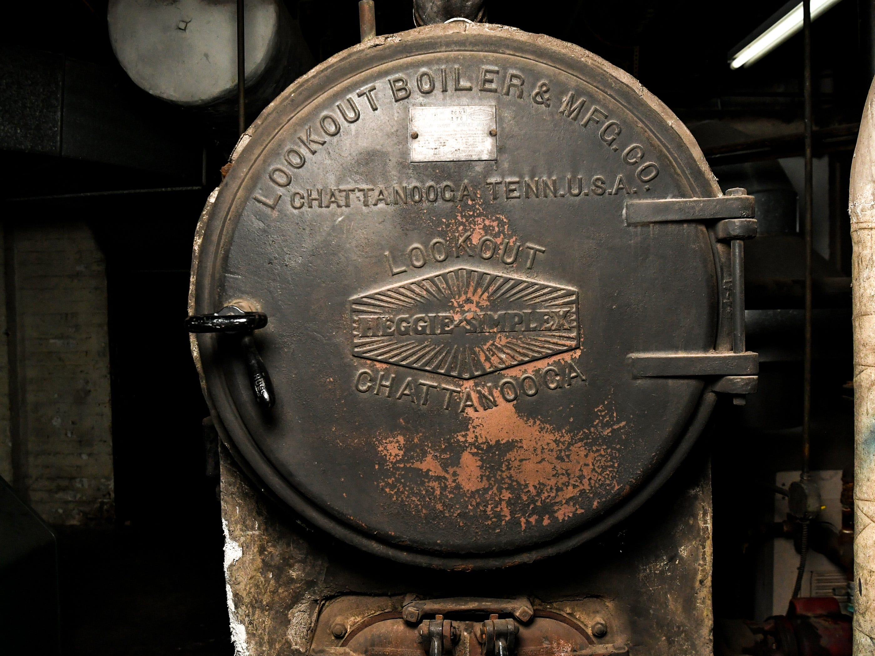 A Lookout Boiler & Manufacturing Company of Chattanooga, Tennessee furnace in the basement of the former post office inside the building at 401 North Main Street in downtown Anderson. Rick and Ann Kummrow pitched their plan to create The Historic Postmark Anderson, a mix of housing upstairs, retail on the main floor, and possibly a restaurant downstairs. The structure built in 1909 was previously a funeral home, and before that a United States Post Office.