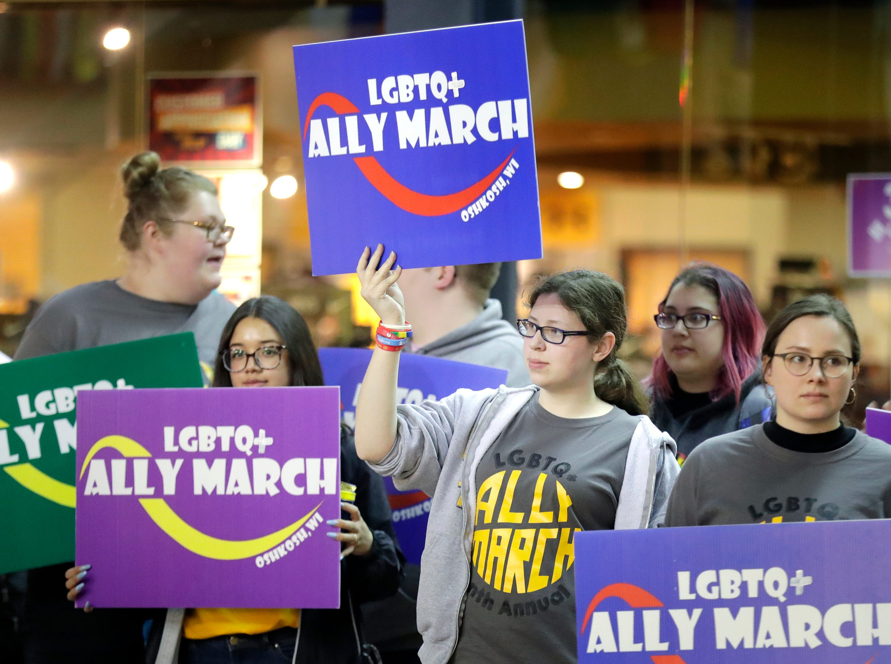 A silent protest during the 10th annual LGBTQ+ Ally March at the Reeve Memorial Union on the University of Wisconsin Oshkosh campus onWednesday, April 17, 2019, in Oshkosh, Wis. Wm. Glasheen/USA TODAY NETWORK-Wisconsin.