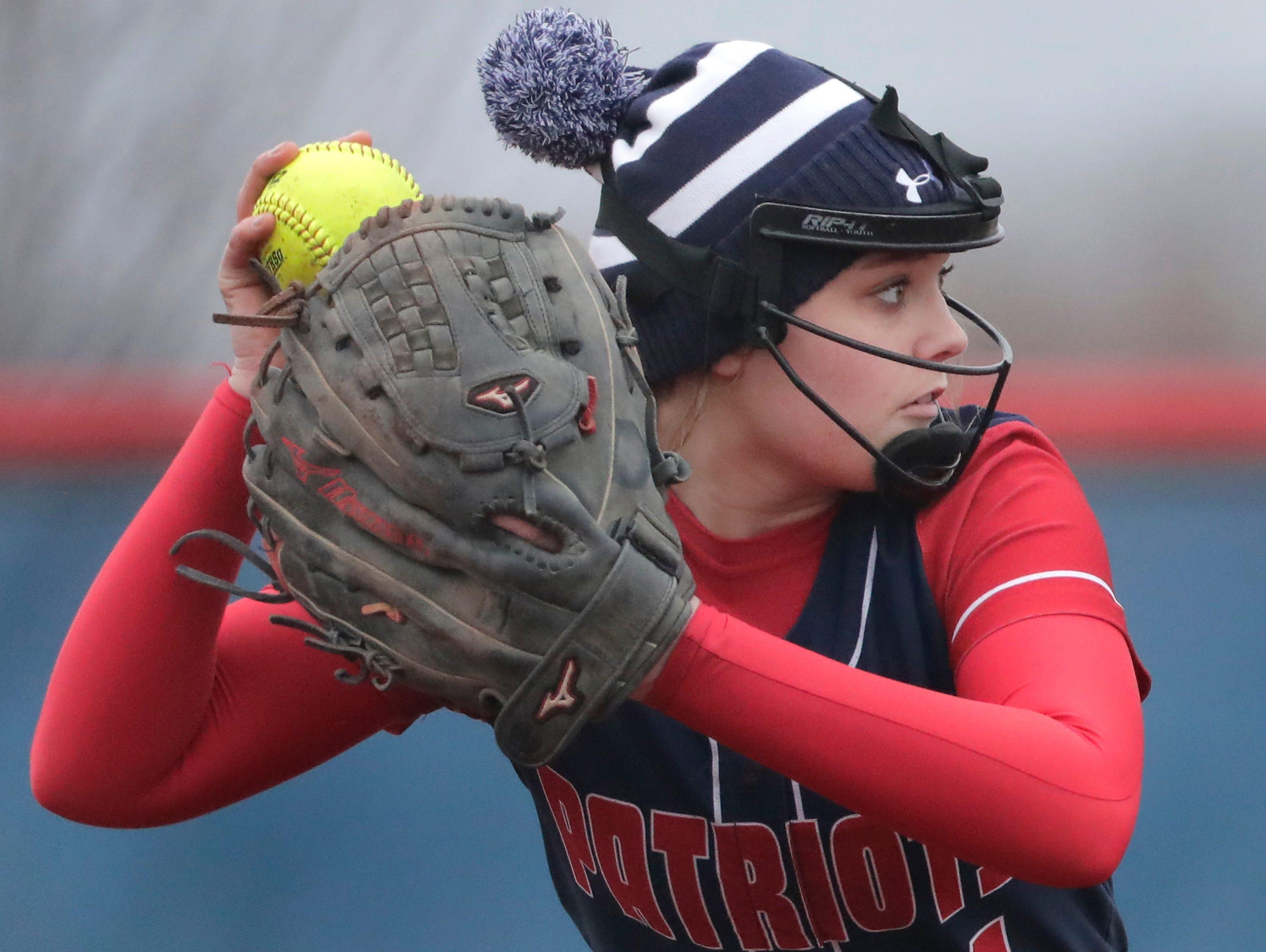Appleton East High School's #1 Breanna Helms against Oshkosh West High School during their softball game  on Thursday, April 18, 2019, in Appleton, Wis. Wm. Glasheen/USA TODAY NETWORK-Wisconsin.