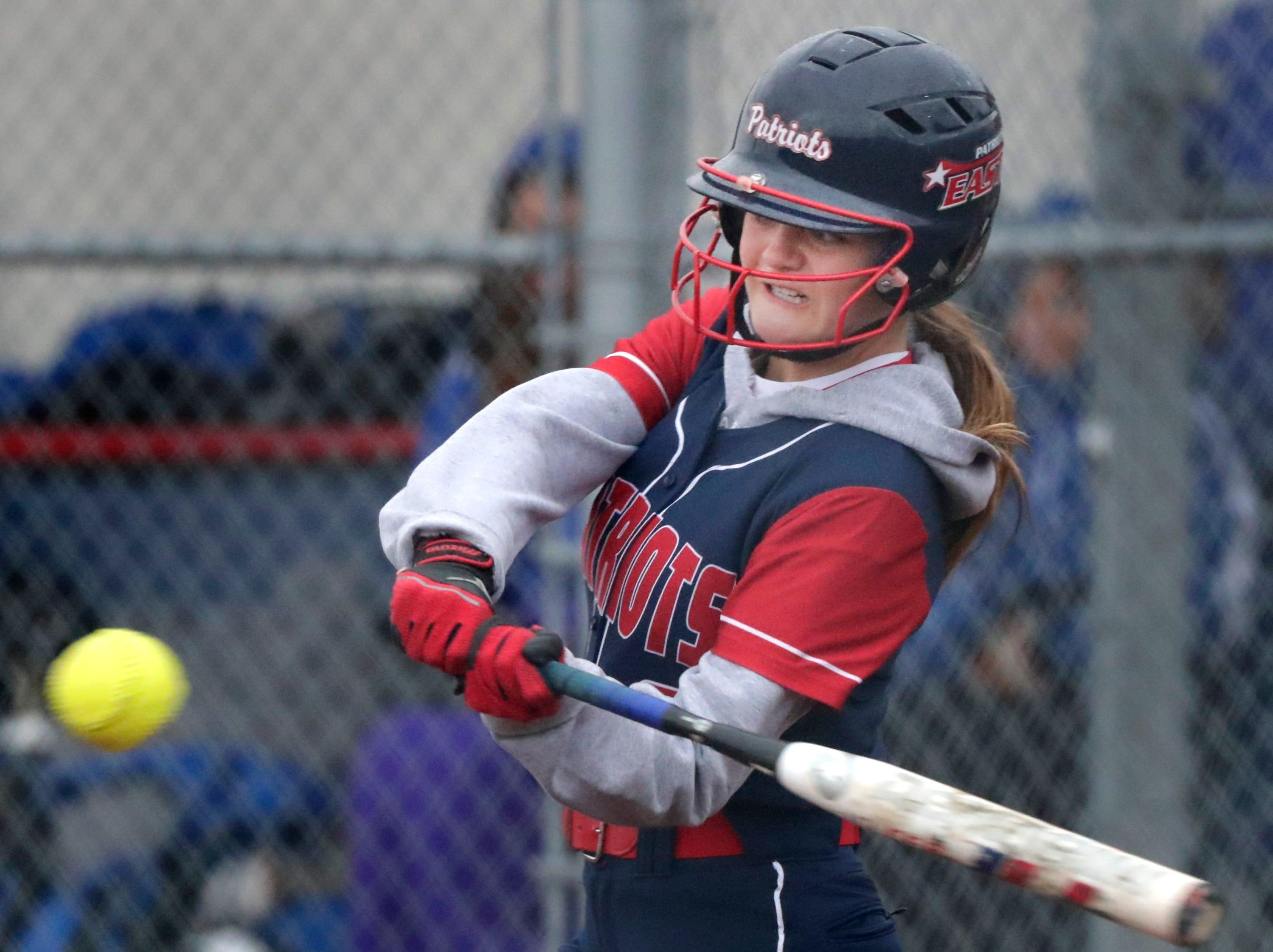 Appleton East High School's #9 Olivia Reichardt against Oshkosh West High School during their softball game  on Thursday, April 18, 2019, in Appleton, Wis. Wm. Glasheen/USA TODAY NETWORK-Wisconsin.