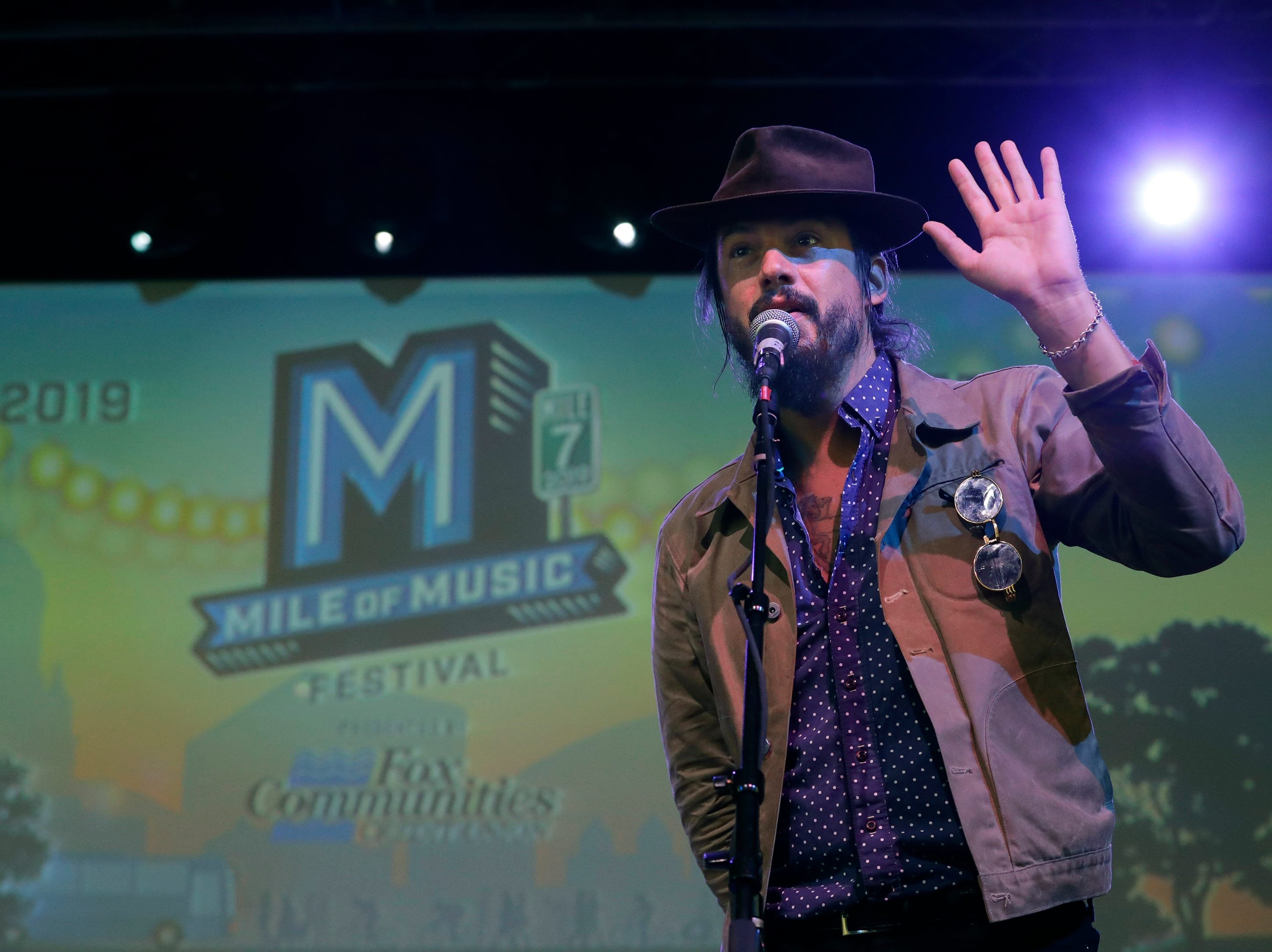 Mile of Music co-founder Cory Chisel announces the return of Jones Park as organizers, sponsors, artists and fans gather for the unveiling of plans for the seventh annual festival Thursday, April 18, 2019, at the OuterEdge Stage in Appleton, Wis. Mile 7, set for Aug. 1-4 in downtown Appleton, will feature more than 900 performances in 60-plus venues.Dan Powers/USA TODAY NETWORK-Wisconsin
