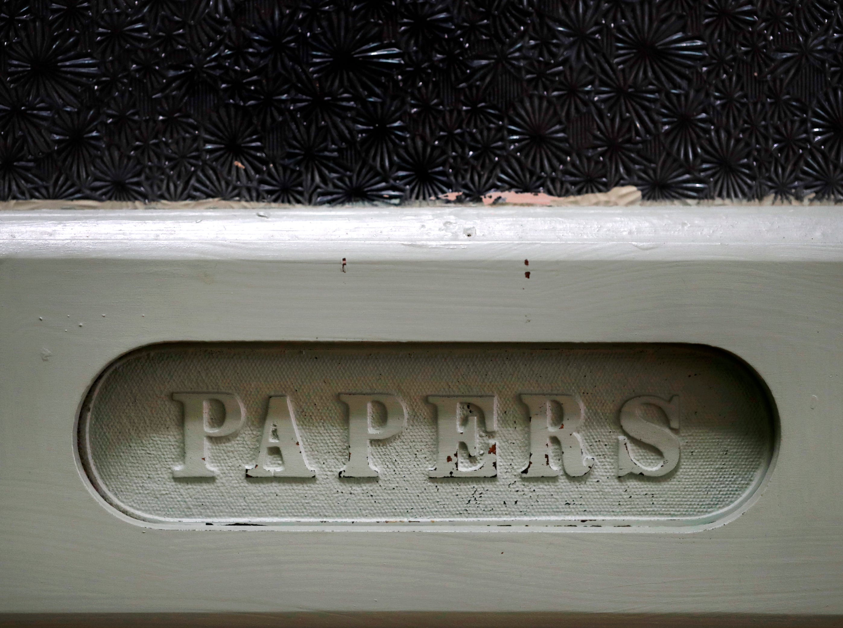 A mail slot on a door on the third floor of the building that houses Gabriel Furniture which was built in 1888 Thursday, April 18, 2019, in Appleton, Wis. Danny Damiani/USA TODAY NETWORK-Wisconsin