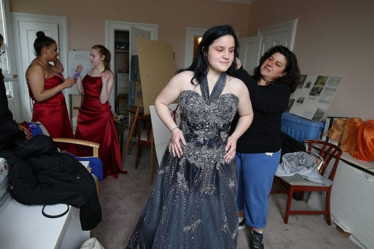Laci Griffin, 14, of Freehold Boro searches for the perfect prom dress with her mother, Marie, during Lunch Break's 4th Annual Prom Giveaway Event at the Woman's Club of Red Bank in Red Bank, NJ Monday, April 22, 2019.