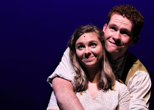 """Alice Murphy (Alex Chapman) and Jimmy Ray Dobbs (Griffin Jones) are wishing on a star in this rehearsal scene from """"Bright Star,"""" Abilene Christian University's spring musical that will be performed Friday and Saturday. April 26-27 2019"""