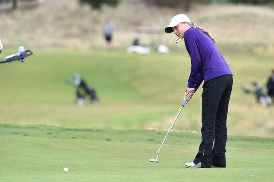 Wylie's Brylee Valentine putts during the first round of the Region I-5A tournament at The Rawls in Lubbock on Monday, April 22, 2019. Valentine shot a first-round 82.