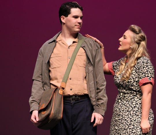 """Lucy Grant (Kasey Birchfield) woos Billy Cane (Court Teal), an aspiring writer returned from World War II, in this rehearsal scene from Abilene Christian University's """"Bright Star."""""""