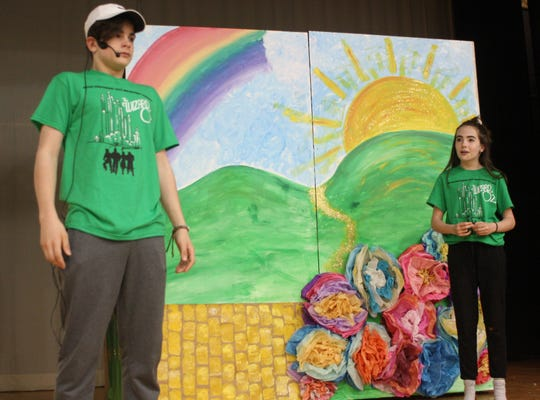 """Liam Roma (Scarecrow) and Isabella Williams (Dorothy) rehearse a scene from the Catholic Schools of Broome County's production of """"The Wizard of Oz"""" on April 22."""