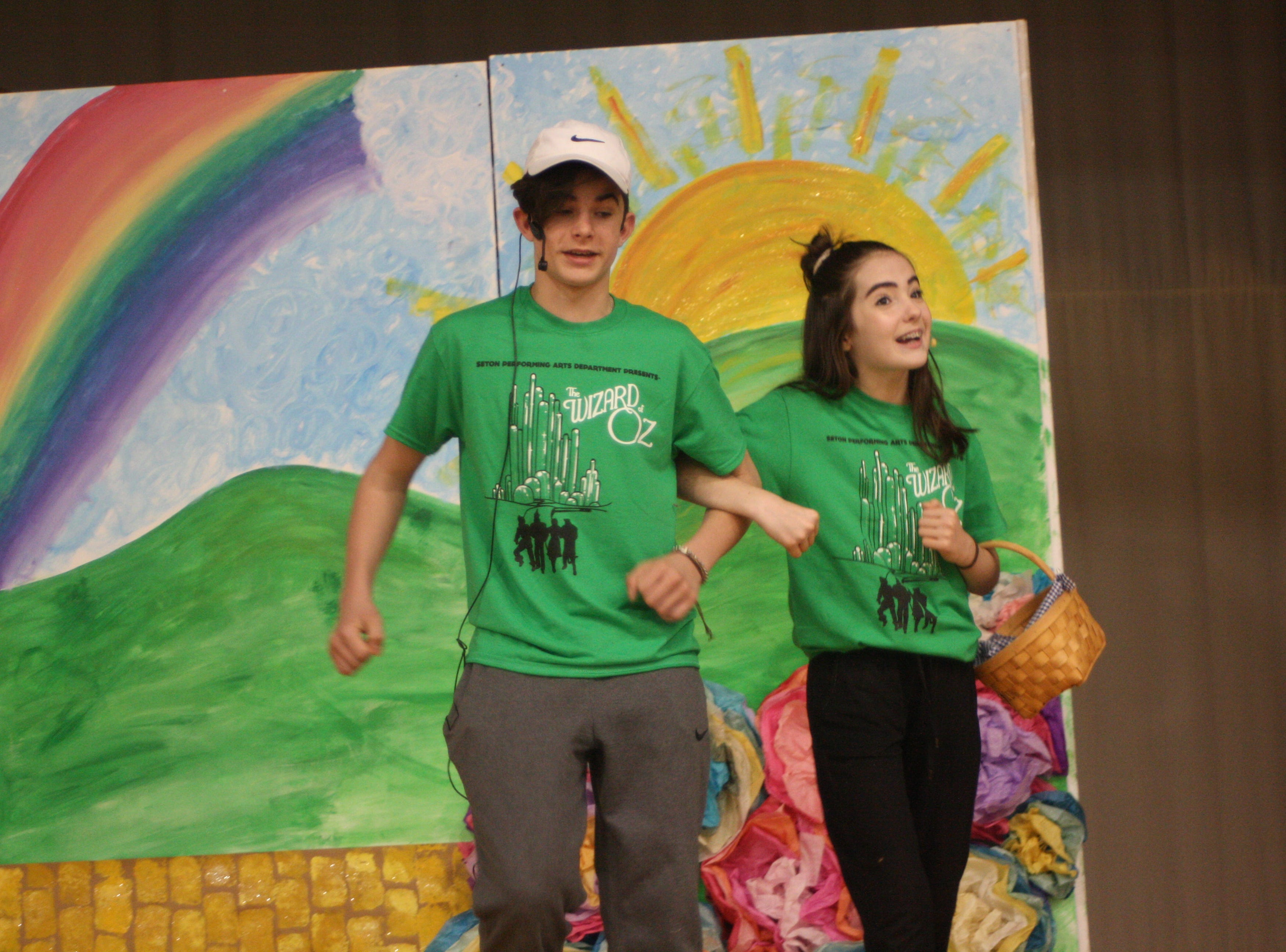 Students enrolled in the Catholic Schools of Broome County's middle and elementary schools rehearse for the upcoming production of 'The Wizard of Oz' on April 22. Every performance of the production will be interpreted for the deaf. Students also learned sign language to accompany each song in the show.