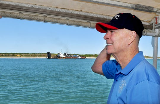 U.S. Rep. Bill Posey, R-Rockledge, took a boat tour of Port Canaveral on Monday, including Phase 5 of the Canaveral Harbor Sand Bypass Project, seen in the background. The tour was followed by a news conference at Jetty Park.
