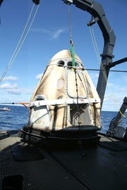 On  March 8, 2019, SpaceX's Crew Dragon was loaded onto the company's recovery ship, Go Searcher, in the Atlantic Ocean, about 200 miles off Florida's east coast, after returning from the International Space Station to conclude the the Demo-1 mission. The same capsule was destroyed during an April 20 failure on a test stand at Cape Canaveral Air Force Station.