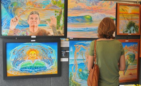 Artist Richard Ficker's work on display at a previous Melbourne Art Festival. The event is this weekend at Wickham Park.