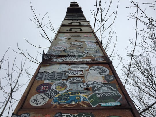 What is said to be the world's tallest filing cabinet rises over Flynn Avenue in Burlington.
