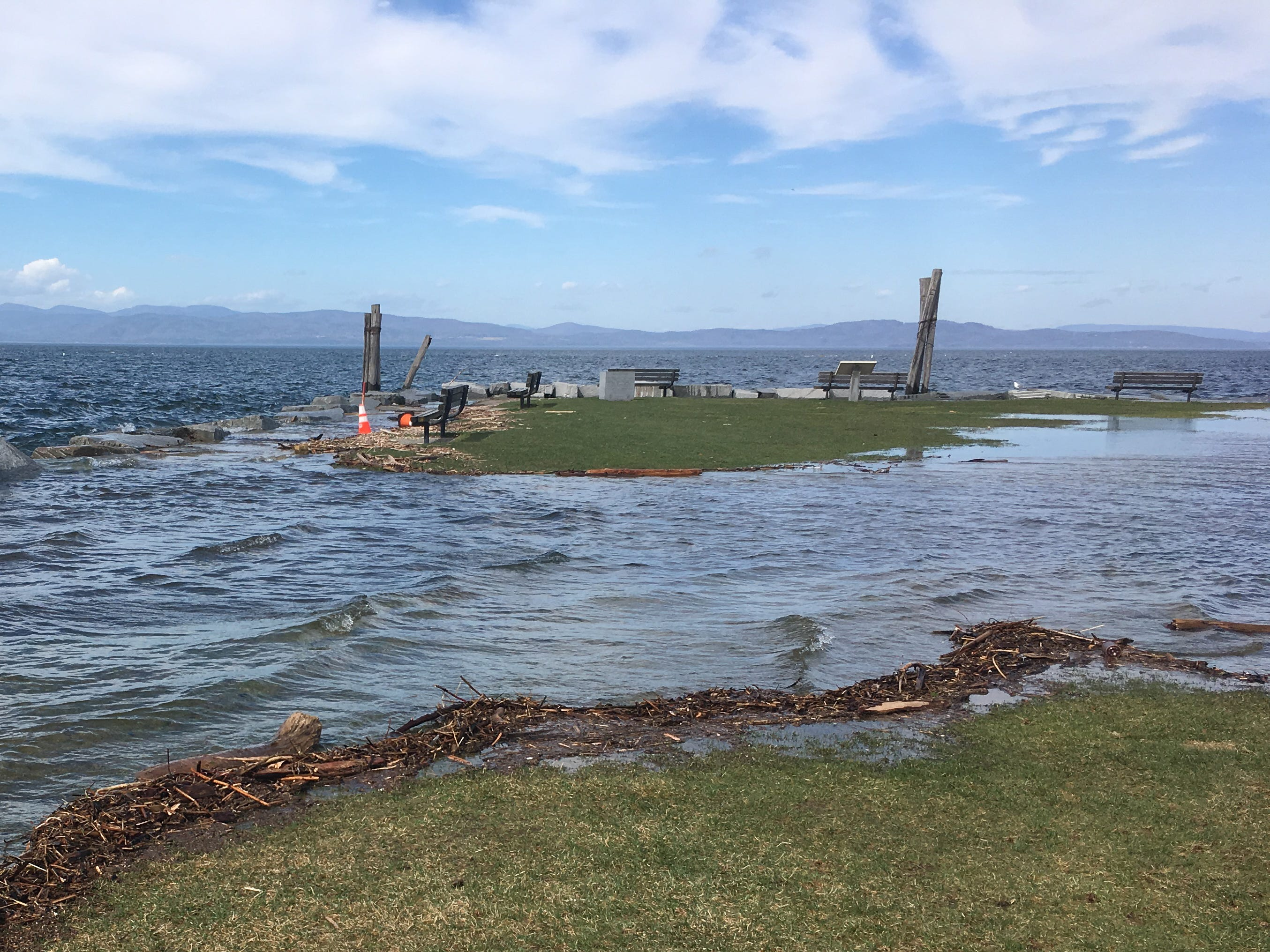 The western edge of Perkins Pier in Burlington is submerged on Sunday, April 21, 2019.