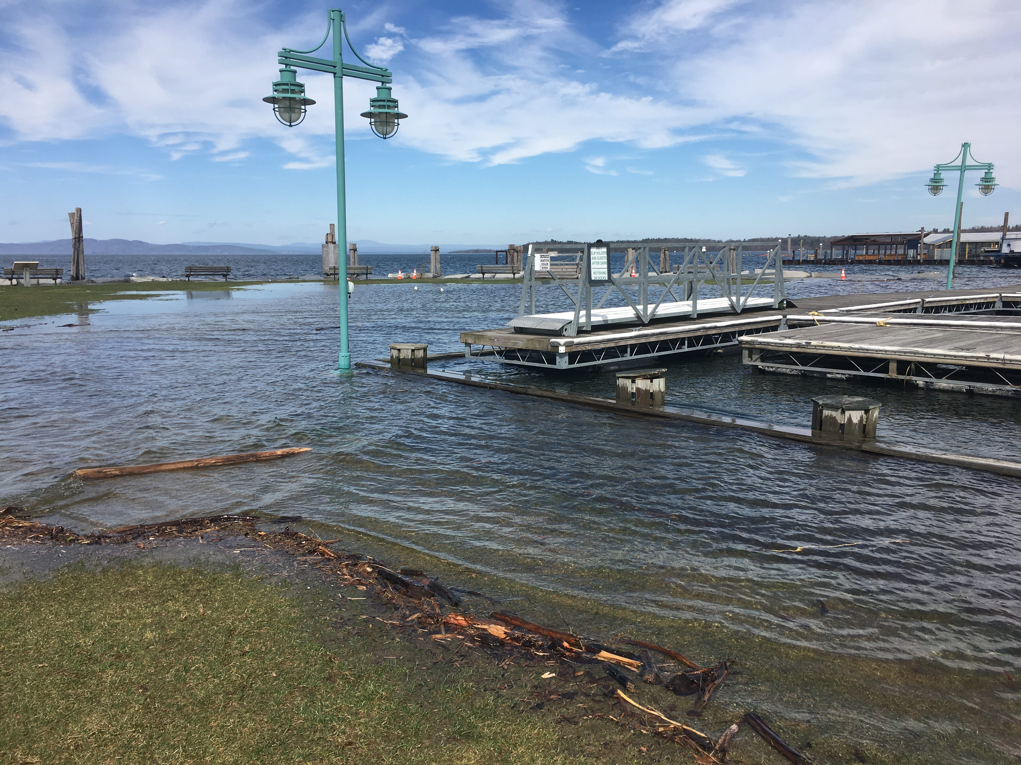 Walkways at Perkins Pier in Burlington are submerged on Sunday, April 21, 2019.