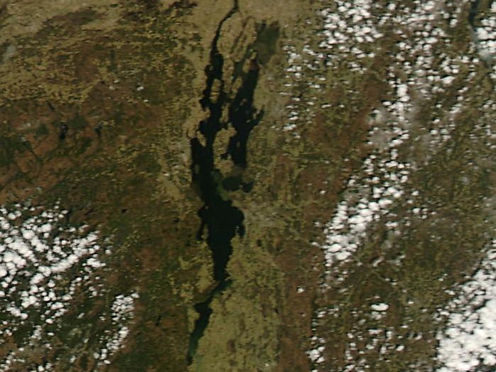 Little or no ice remains in Lake Champlain in this NASA satellite photo taken Monday, April 22, 2019.