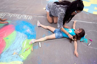Students, faculty and community members celebrated Earth Day with a mural chalk party at Texas A&M University-Corpus Christi.