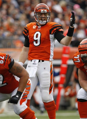2009.11.29 BENGALS SPORTS :  The Cincinnati Bengals Carson Palmer directs his line against the Cleveland Browns at Paul Brown Stadium Sunday November 29, 2009. The Enquirer/Jeff Swinger