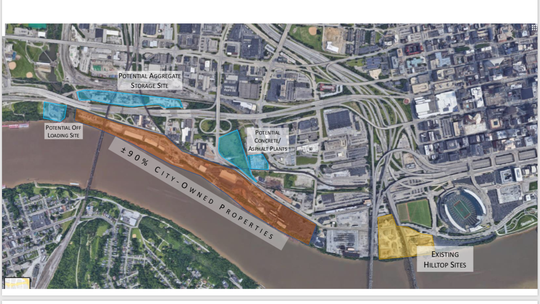 This diagram shows the existing and proposed relocation sites for Hilltop Concrete. The blue are the proposed new location for the concrete company. The orange section, mostly owned by the city, could provide a solution if the loading site is moved further away from the proposed park.