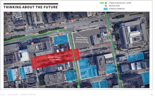A city task force is considering converting a block of Court Street between Vine and Walnut streets into a pedestrian-friendly civic area. Different scenarios include closing or limiting access to cars, while investing in more landscaping and outdoor seating.