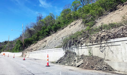 Columbia Parkway is reduced to one lane in both directions between Kemper & Taft from 7:30 AM to 3:30 PM on April 22 for landslide stabilization work.