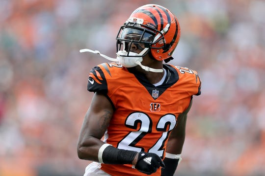 Cincinnati Bengals cornerback William Jackson (22) reacts after breaking up a pass during the Week 5 NFL game between the Miami Dolphins and the Cincinnati Bengals, Sunday, Oct. 7, 2018, at Paul Brown Stadium in Cincinnati.