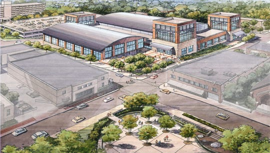 An artist rendering shows the exterior of the proposed downtown multipurpose events center.