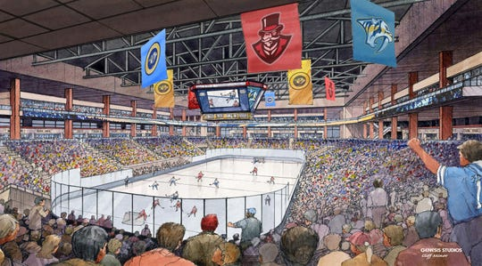 An artist rendering shows the interior of the proposed downtown multi-purpose event center.