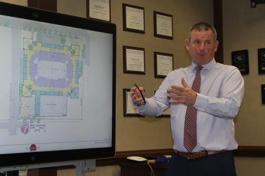 Montgomery County Mayor Jim Durrett discusses the plans for the proposed multi-purpose event center which would be located in downtown Clarksville.