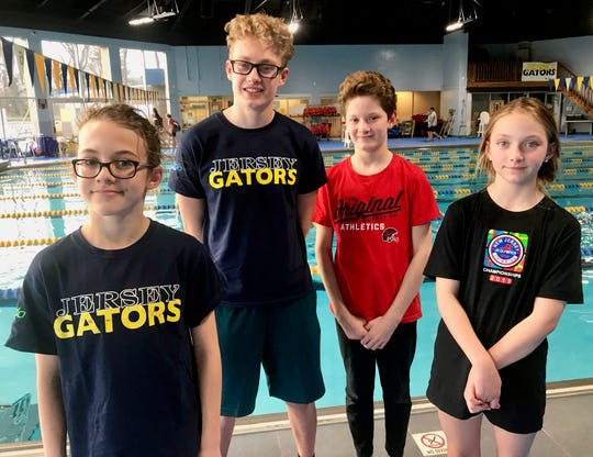 Linden students who competed in the Junior Olympics swimming competition at Rutgers University. From left are Filip Salek, Lukas Mikulenas, Jakub Szulimowski and Marleigh McDonald.