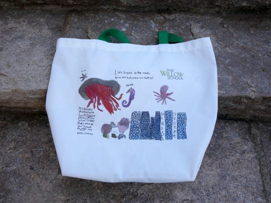 Fourth graders at the Willow School in Gladstone designed and sold their own reusable bag, which encourages users to help prevent plastic from entering our oceans and endangering sea life.