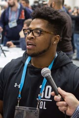 Ferris State offensive lineman Devon Johnson speaks to media during the 2019 NFL Combine at Indianapolis Convention Center.