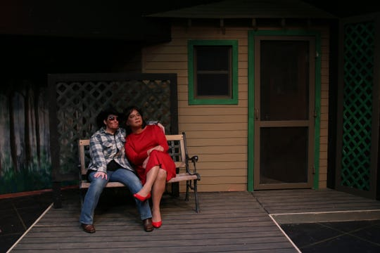 "Megan Meade-Higgins and Alonzo Luzod in the Stagecrafters 2nd Stage production of ""Southern Comfort."""