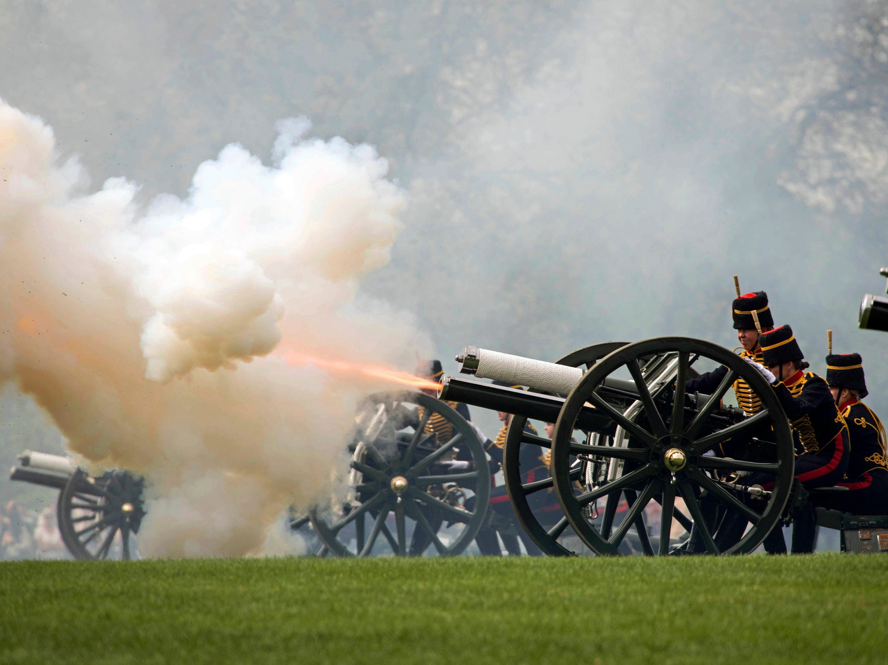 The King's Troop Royal Horse Artillery fire a 41 Gun Royal Salute to mark the 93rd birthday of Britain's Queen Elizabeth II,  in Hyde Park, London, Monday April 22, 2019. Elizabeth is the longest-reigning monarch in British history.