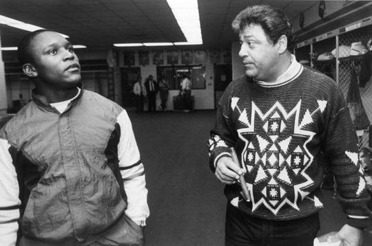 Former Lions head coach Wayne Fontes (right) said the team was approached about trading the No. 3 pick in 1989, but Detroit had its sights set on running back Barry Sanders (left).