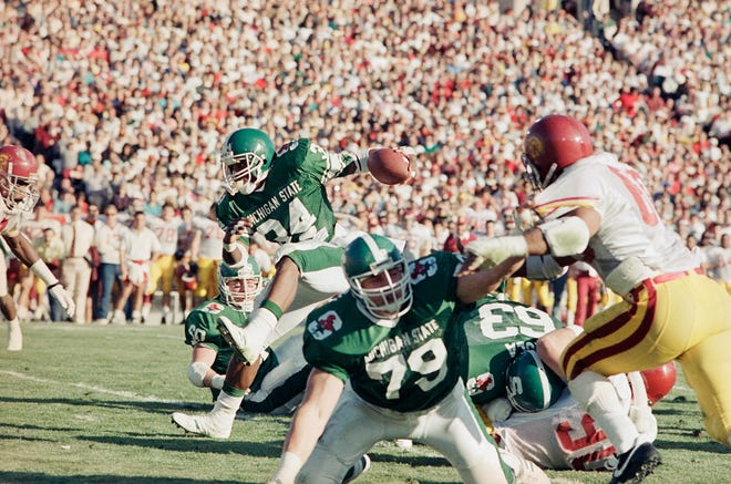 Michigan State's 1998 Rose Bowl victory over USC was tainted by steroids use by a handful of players, including offensive lineman Tony Mandarich (79)
