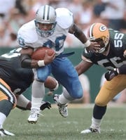 Barry Sanders rushed for more than 15,000 yards in just 10 seasons after the Lions selected him No. 3 overall in the 1989 NFL Draft.