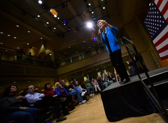 Democratic presidential candidate Sen. Elizabeth Warren, D-Mass. visits Keene State College during a campaign visit on Saturday, April 20, 2019 in Keene, N.H.