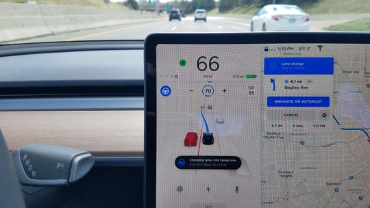 "On Tesla's latest, ""Navigate on Autopilot"" upgrade, the Tesla Model 3 will automatically change lanes on the way to its destination. That includes changing lanes when it is balked by a slower car. In this situation on the Lodge freeway, the car informed the driver of the lane change, waited for a faster car to come by, then made the pass."