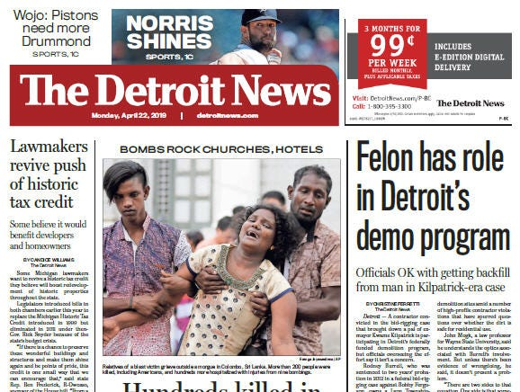 Front page of The Detroit News on Monday, April 22, 2019.