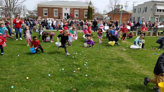Children participate in the annual Easter egg hunt in Oak Harbor on April 13.