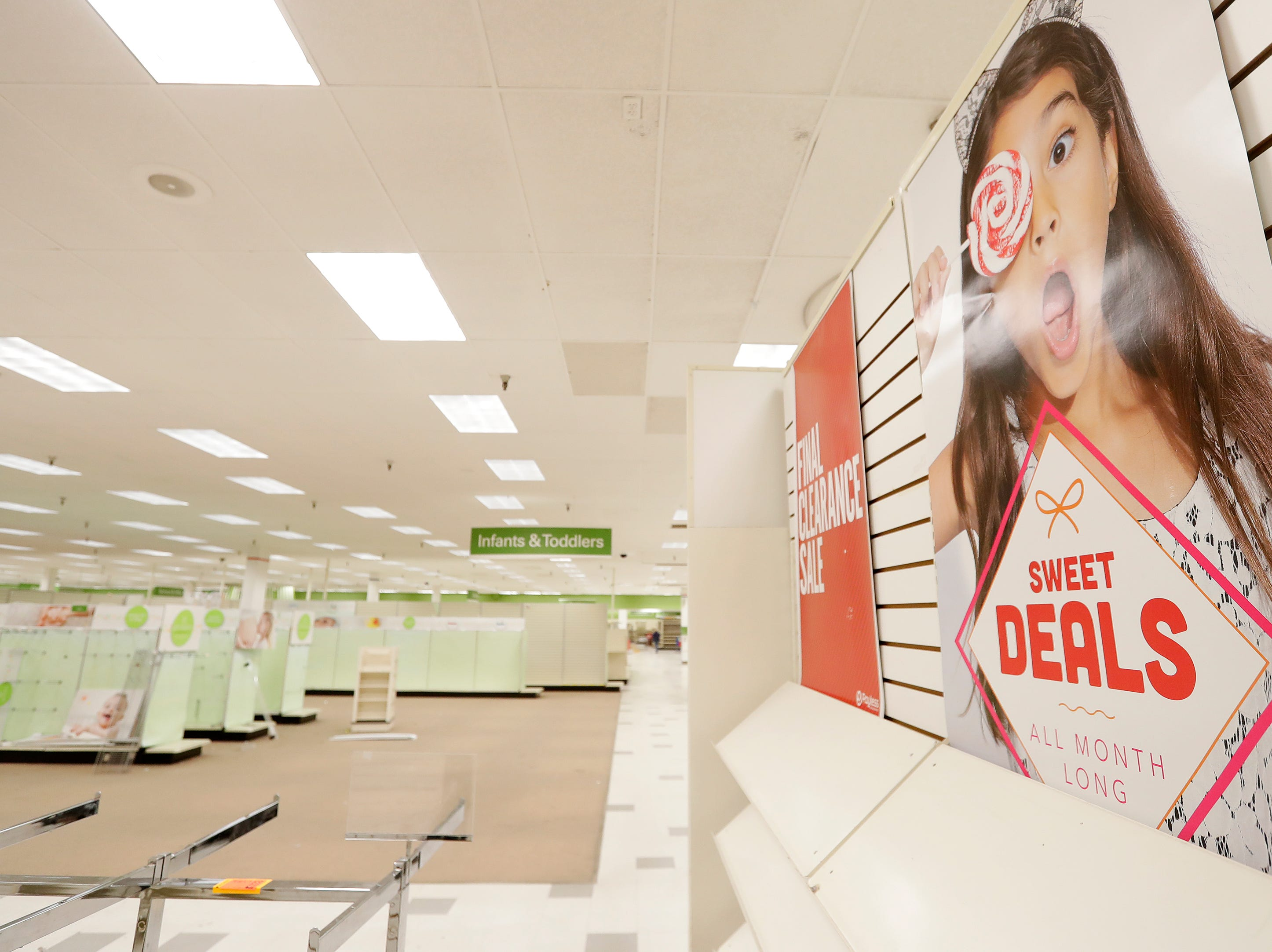 Empty shelves are shown on the final day of business at the Shopko on Military Ave on Monday, April 22, 2019 in Green Bay, Wis.