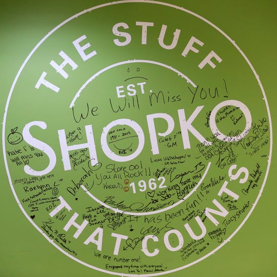 A signed wall is seen on the final day of business at the Shopko on Military Ave on Monday.