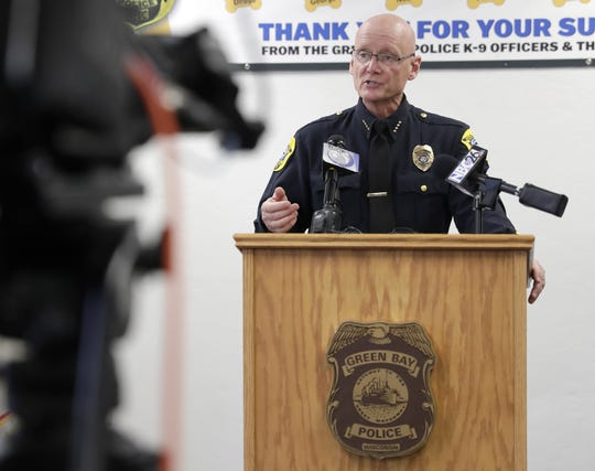 Green Bay Police Chief Andrew Smith provides an update on Pyro, a police dog that is recovering from being stabbed, during a press conference Monday at the Green Bay Police Department.