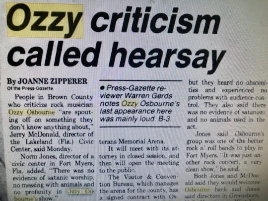 A 1983 Green Bay Press-Gazette story was one of many about the controversy surrounding an Ozzy Osbourne concert at Brown County Veterans Memorial Arena.