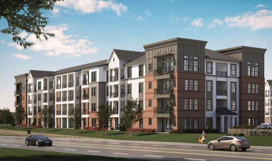 A rendering of apartments proposed in the Adam's Hill mixed-use development at the intersection of Haywood and Pelham roads.