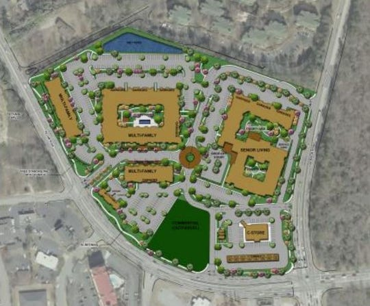 The footprint of the proposed Adam's Hill mixed-use development at the intersection of Haywood and Pelham roads.