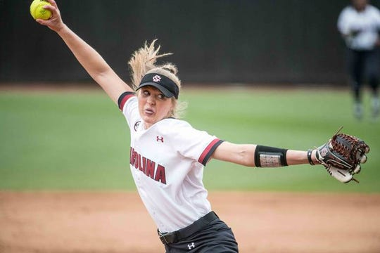 South Carolina starting pitcher Dixie Raley delivers to a Liberty batter during the regional round of the NCAA tournament at Carolina Softball Stadium at Beckham Field Sunday, May 20, 2018, in Columbia, S.C.