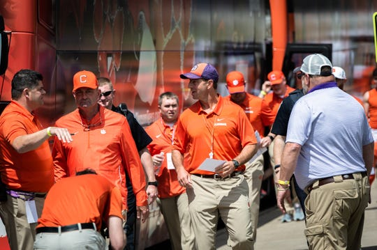 Clemson coach Dabo Swinney at the Tiger Walk before the Spring Game at Memorial Stadium Saturday, April 6, 2019.